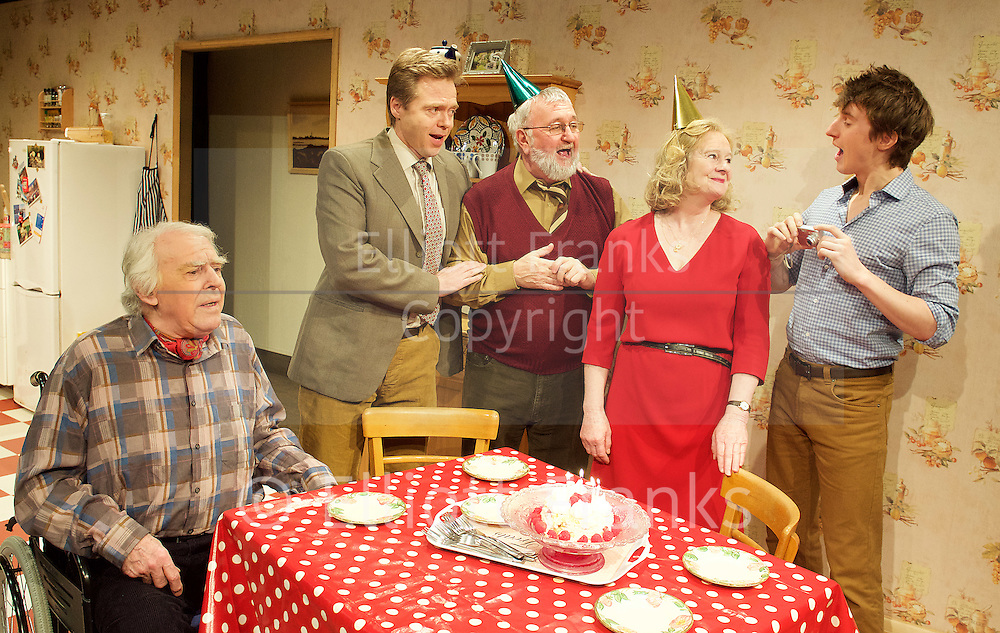 The Heart of Things <br /> by Giles Cole<br /> at The Jermyn Street Theatre, London, Great Britain <br /> press photocall<br /> 10th March 2015 <br /> <br /> Ralph Watson as Brian Calder <br /> <br /> Keith Parry as Bob Farrow<br /> <br /> Nick Waring as Peter Calder <br /> <br /> Patience Tomlinson as Ros Calder<br /> <br /> Amy Rockson as Jacqui Price <br /> <br /> Ollo Clark as William Farrow <br /> <br /> Photograph by Elliott Franks <br /> Image licensed to Elliott Franks Photography Services