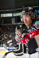 KELOWNA, CANADA - OCTOBER 11: Madison Bowey #4 of Kelowna Rockets stands on the bench against the Lethbridge Hurricanes on October 11, 2014 at Prospera Place in Kelowna, British Columbia, Canada.   (Photo by Marissa Baecker/Shoot the Breeze)  *** Local Caption *** Madison Bowey;