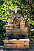 Fountain and mosaic at the Krka Monastery, Krka National Park, Dalmatia, Croatia
