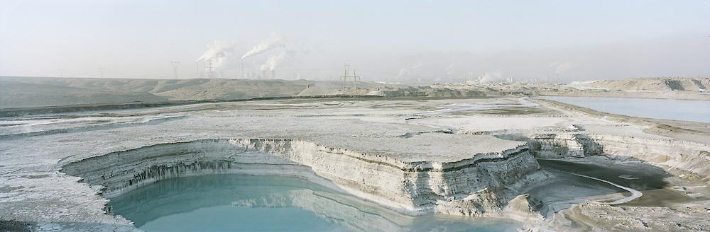 Ash dumping site near industrial plants. Wuhai, Inner Mongolia, China. 2010