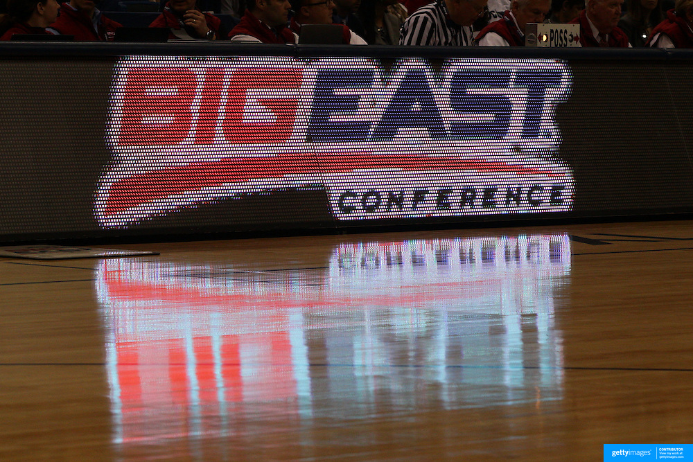 The Big East signage during the Notre Dame Fighting Irish V Louisville Cardinals Semi Final match during the Big East Conference, 2013 Women's Basketball Championships at the XL Center, Hartford, Connecticut, USA. 11th March. Photo Tim Clayton