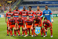 FOOTBALL - UEFA CHAMPIONS LEAGUE 2011/2012 - GROUP STAGE - GROUP F - OLYMPIQUE DE MARSEILLE v BORUSSIA DORTMUND - 28/09/2011 - PHOTO PHILIPPE LAURENSON / DPPI - TEAM MARSEILLE ( BACK ROW LEFT TO RIGHT: ANDRE AYEW / SOULEYMANE DIAWARA / ALOU DIARRA / NICOLAS N'KOULOU / LOIC REMY / STEVE MANDANDA. FRONT ROW: CESAR AZPILICUETA / JEREMY MOREL / MATHIEU VALBUENA / CHARLES KABORE / LUCHO GONZALEZ )
