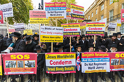 London, November 02 2017. Scores of Rabbinical Jews protest outside  Downing Street against Israel an the visit of Israeli Prime Minister Benjamin Nethanyahu, whose visit coincides with the 100th anniversary of the Balfour Declaration. © Paul Davey