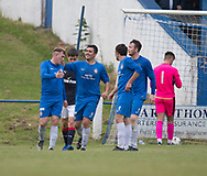Lochee United's Connor Birse is congratulated after scoring the equaliser - Lochee United v Dundee 20s, pre-season friendly, at Thomson Park<br /> <br />  - &copy; David Young - www.davidyoungphoto.co.uk - email: davidyoungphoto@gmail.com