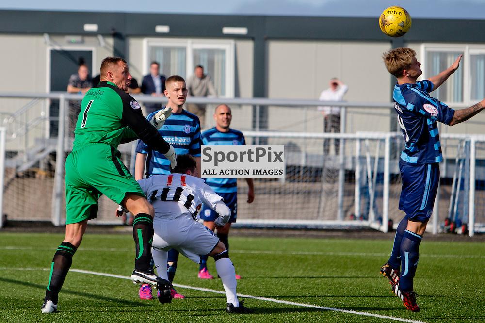 Forfar Athletic v Dunfermline Athletic SPFL League One Season 2015/16 Station Park 05 September 2015<br /> Rab Douglas fouls Joe Cardle and concedes a penalty<br /> CRAIG BROWN | sportPix.org.uk