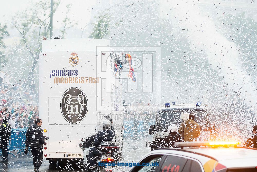 Real Madrid players celebrate winning the UEFA Champions League with an open top bus tour at Cibeles Square, Madrid<br /> Picture by EXPA Pictures/Focus Images Ltd 07814482222<br /> 29/05/2016<br /> ***UK &amp; IRELAND ONLY***<br /> EXPA-ESP-160529-0114.jpg