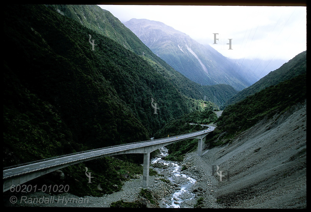 Otira Viaduct on State Highway 73, completed 1999, spans Otira River and fault zone high in the Southern Alps of New Zealand.