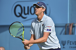 June 18, 2018 - London, England, United Kingdom - Sam Querrey of the United States in action during the first round match against Jay Clarke of Great Britain during Day one of the Fever-Tree Championships at Queens Club on June 18, 2018 in London, United Kingdom. (Credit Image: © Alberto Pezzali/NurPhoto via ZUMA Press)