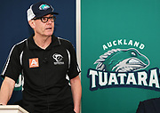 Baseball NZ board member Brett O'Riley talks to the media as the new Auckland Tuatara baseball team is announced to play in the Australian Baseball League at the Centre for Conservaion Medicine at Auckland Zoo. New Zealand. Monday 27 August 2018. © Copyright Image: Andrew Cornaga / www.photosport.nz