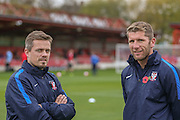 York City Assistant Manager Simon Donnolly  and Richard Cresswell during the The FA Cup match between Accrington Stanley and York City at the Fraser Eagle Stadium, Accrington, England on 7 November 2015. Photo by Simon Davies.
