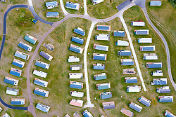 Aerial view of empty static caravans at Elie Holiday Park near Elie in Fife. The park would normally be busy at this time year but is closed due to the Covid-19 pandemic.