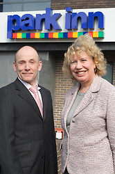 Sheffield MP Meg Munn gave her support to British Tourism Week by getting a taste of what it would be like working at The Park Inn Hotel on Blonk Street Sheffield on Friday 19th March 2010. Left General Manger Ian Slater with MP Meg Munn right