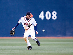 Virginia Cavaliers outfielder Tim Henry (6) has trouble with a ball against Duke.  The Virginia Cavaliers Baseball team fell to the Duke Blue Devils 13-9 in the second of a three game series at Davenport Field in Charlottesville, VA on April 7, 2007.