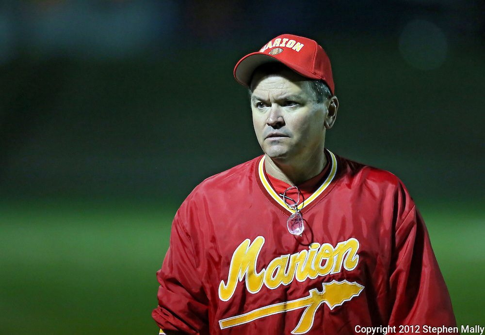 Marion head coach Tony Perkins during the first half of the game between Maquoketa and Marion at Thomas Park Field in Marion on Friday, September 21, 2012.