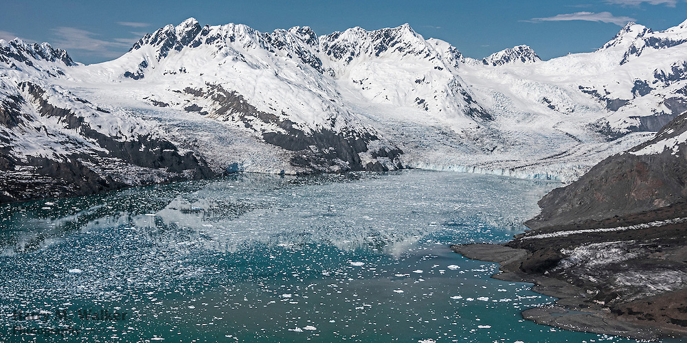 Aerial view of both branches of Columbia Glacier in Prince William Sound; one of the fastest moving glaciers in the world; from 1986 to 2014 the glacier has retreated more than 12 miles