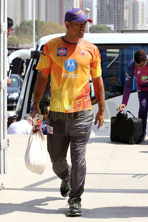 MS Dhoni of Rising Pune Supergiant arrives during match 34 of the Vivo 2017 Indian Premier League between the Rising Pune Supergiants and the Royal Challengers Bangalore   held at the MCA Pune International Cricket Stadium in Pune, India on the 29th April 2017<br /> <br /> Photo by Faheem Hussain - Sportzpics - IPL