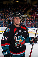 KELOWNA, CANADA - OCTOBER 20: Kole Lind #16 of the Kelowna Rockets skates to the bench against the Portland Winterhawks on October 20, 2017 at Prospera Place in Kelowna, British Columbia, Canada.  (Photo by Marissa Baecker/Shoot the Breeze)  *** Local Caption ***