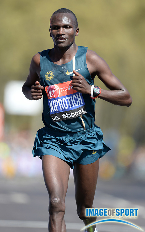 Apr 13, 2014, London, United Kingdom; Stephen Kiprotich (UGA) places 12th in the 2014 Virgin Money London Marathon in 2:11:37. Photo by Jiro Mochizuki