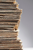 Pile of corrugated cardboard close-up