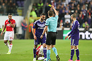 Referee Felix Brych shows yellow card to Anderlecht Defender Ivan Obradovic during the UEFA Europa League Quarter-final, Game 1 match between Anderlecht and Manchester United at Constant Vanden Stock Stadium, Anderlecht, Belgium on 13 April 2017. Photo by Phil Duncan.