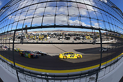 March 4, 2018 - Las Vegas, NV, U.S. - LAS VEGAS, NV - MARCH 04: Joey Logano (22) Team Penske Pennzoil Ford Fusion leads the field around the track for a pace lap under caution during the Monster Energy NASCAR Cup Series Pennzoil 400 on March 04, 2018 at Las Vegas Motor Speedway in Las Vegas, NV. (Photo by Chris Williams/Icon Sportswire) (Credit Image: © Chris Williams/Icon SMI via ZUMA Press)