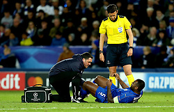 Wes Morgan of Leicester City receives treatment for an injury - Mandatory by-line: Robbie Stephenson/JMP - 18/04/2017 - FOOTBALL - King Power Stadium - Leicester, England - Leicester City v Atletico Madrid - UEFA Champions League Quarter-Final Second Leg