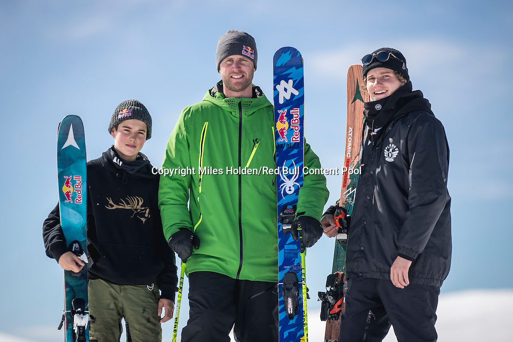 Nico Porteous, Russ Henshaw and Miguel Porteous pose for a portrait in Wanaka, New Zealand, on September 6, 2016 // Miles Holden/Red Bull Content Pool // P-20160907-04800 // Usage for editorial use only // Please go to www.redbullcontentpool.com for further information. //