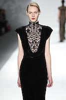 Julia Nobis walks down runway for F2012 Tadashi Shoji's collection in Mercedes Benz fashion week in New York on Feb 9, 2012 NYC