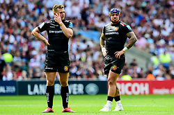 Joe Simmonds of Exeter Chiefs and Jack Nowell of Exeter Chiefs - Mandatory by-line: Ryan Hiscott/JMP - 01/06/2019 - RUGBY - Twickenham Stadium - London, England - Exeter Chiefs v Saracens - Gallagher Premiership Rugby Final
