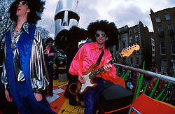 IRELAND DUBLIN 17MAR00 - A band perform atop a moving truck during the St. Patrick's Day parade in St. Stephen's Green, Dunlin...jre/Photo by Jiri Rezac..© Jiri Rezac 2000..Contact: +44 (0) 7050 110 417.Mobile:  +44 (0) 7801 337 683.Office:  +44 (0) 20 8968 9635..Email:   jiri@jirirezac.com.Web:     www.jirirezac.com..© All images Jiri Rezac 2000 - All rights reserved.