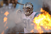 Carolina Panthers defensive end Bryan Cox (91) enters the field through flames during a NFL football game against the Pittsburgh Steelers, Thursday, Aug. 29, 2019, in Charlotte, N.C. The Panthers defeated the Steelers 25-19.  (Brian Villanueva/Image of Sport)