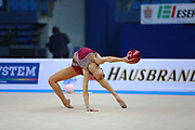 Vladinova Neviana during qualifying at ball in Pesaro World Cup 01 April 2016. Neviana is a gymnast from Bulgaria. She is born in Pleven February 23, 1994. Her dream is to win a medal at the 2020 Olympic Games in Tokyo.
