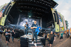 Diplo, Walshy Fire and Jillionaire of Major Lazer performing live on stage on day 3 of Leeds Festival a Bramham Park, UK. Picture date: Sunday 27 August, 2017. Photo credit: Katja Ogrin/ EMPICS Entertainment.