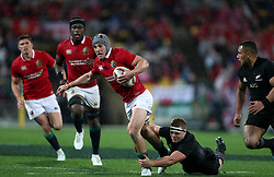 British and Irish Lions' Jonathan Davies is tackled during the second test of the 2017 British and Irish Lions tour at Westpac Stadium, Wellington.