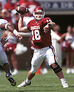 Oklahoma quarterback Jason White drops back to pass during game action against Alabama at the Oklahoma Memorial Stadium in Norman, Oklahoma in 2002.