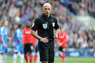 referee Howard Webb looks on. Barclays Premier league, Cardiff city v Hull city match at the Cardiff city Stadium in Cardiff, South Wales on Saturday 22nd Feb 2014.<br /> pic by Andrew Orchard, Andrew Orchard sports photography.