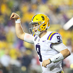 Sep 29, 2018; Baton Rouge, LA, USA; LSU Tigers quarterback Joe Burrow (9) celebrates a touchdown against the Mississippi Rebels during the second half of a game at Tiger Stadium. Mandatory Credit: Derick E. Hingle-USA TODAY Sports