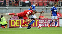 Leyton Orient's Gary Sawyer tussles for the ball with Ipswich Town's David McGoldrick - photo mandatory by-line David Purday JMP- Tel: Mobile 07966 386802 02/08/14 - Leyton Orient v Ipswich Town - SPORT - FOOTBALL - Pre season - London -  Matchroom Stadium