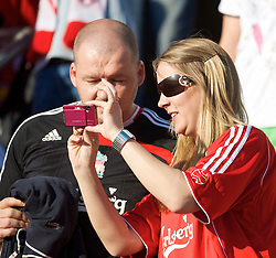 OSLO, NORWAY - Wednesday, August 5, 2009: A Norwegian Liverpool supporter before a preseason match against FC Lyn Oslo at the Bislett Stadion. (Pic by David Rawcliffe/Propaganda)