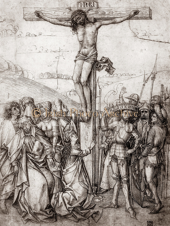 Christ on the Cross. Master of Nuremberg, c1480. Pen and sepia ink. Drawing.