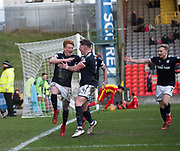 17th February 2018, Firhill Stadium, Glasgow, Scotland; Scottish Premier League Football, Partick Thistle versus Dundee; Simon Murray of Dundee celebrates with Josh Meekings after scoring a last minute winner for 2-1