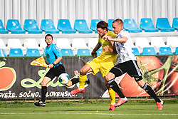 Marin Karamarko of NS Mura and Matej Podlogar of Domzale during football match between NŠ Mura and NK Domžale in 30th Round of Prva liga Telekom Slovenije 2019/20, on June 28, 2020 in Fazanerija, Murska Sobota, Slovenia. Photo by Blaž Weindorfer / Sportida