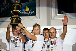 2008 Monsoon Cup. Ian Williams and crew celebrating after winning the World Match Racing Trophy (Sunday the 7th December 2008). .