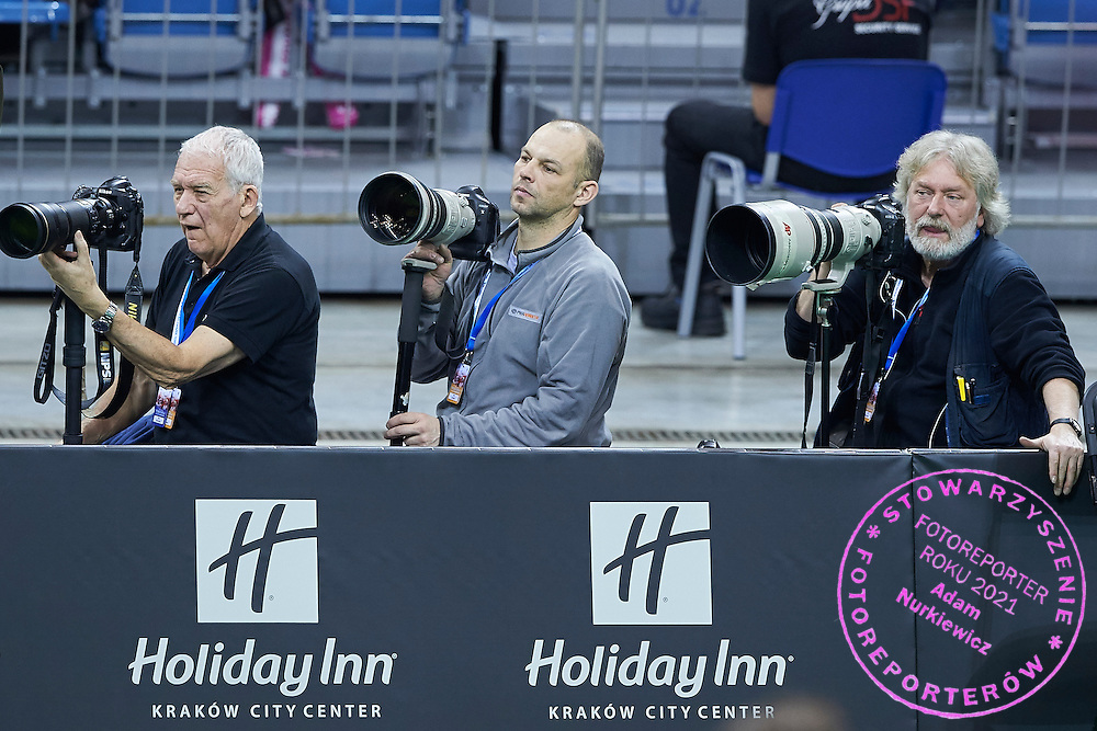 (L-R) Photographer Robert Maksimow (Russian Tennis Federation) and Anton Denisow (RIA Novosti) and Czarek Sokolowski (Associated Press Agency) during First Day of the Fed Cup / World Group 1st round tennis match between Poland and Russia at Tauron Krakow Arena on February 7, 2015 in Cracow, Poland.<br />