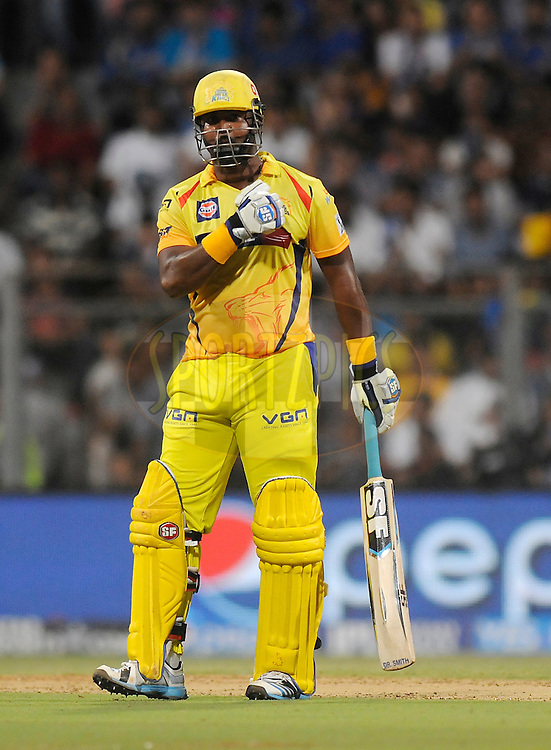 Dwayne Smith of The Chennai Superkings gestures after scoring a half century during match 33 of the Pepsi Indian Premier League Season 2014 between the Mumbai Indians and the Chennai Superkings held at the Wankhede Cricket Stadium, Mumbai, India on the 10th May  2014<br /> <br /> Photo by Pal Pillai / IPL / SPORTZPICS<br /> <br /> <br /> <br /> Image use subject to terms and conditions which can be found here:  http://sportzpics.photoshelter.com/gallery/Pepsi-IPL-Image-terms-and-conditions/G00004VW1IVJ.gB0/C0000TScjhBM6ikg