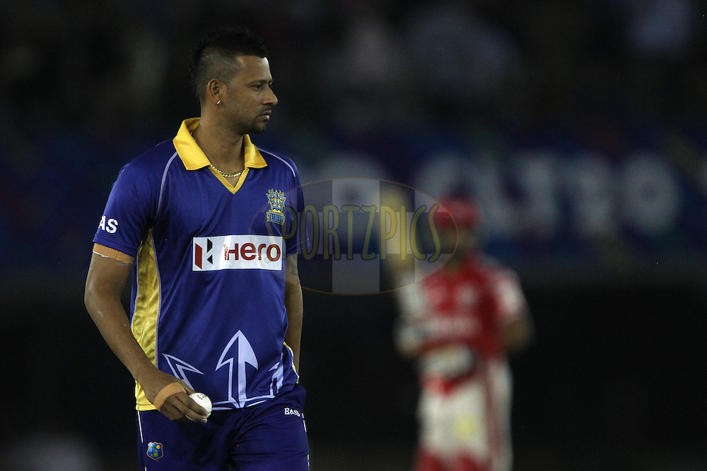 Rayad EMRIT (Captain) of the Barbados Tridents  during match 5 of the Oppo Champions League Twenty20 between the Kings XI Punjab and the Barbados Tridents held at the Punjab Cricket Association Stadium, Mohali, India on the 20th September 2014<br /> <br /> Photo by:  Ron Gaunt / Sportzpics/ CLT20<br /> <br /> <br /> Image use is subject to the terms and conditions as laid out by the BCCI/ CLT20.  The terms and conditions can be downloaded here:<br /> <br /> http://sportzpics.photoshelter.com/gallery/CLT20-Image-Terms-and-Conditions-2014/G0000IfNJn535VPU/C0000QhhKadWcjYs