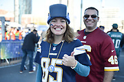 Thumbs up from a lady in Chargers colours during the International Series match between Tennessee Titans and Los Angeles Chargers at Wembley Stadium, London, England on 21 October 2018.