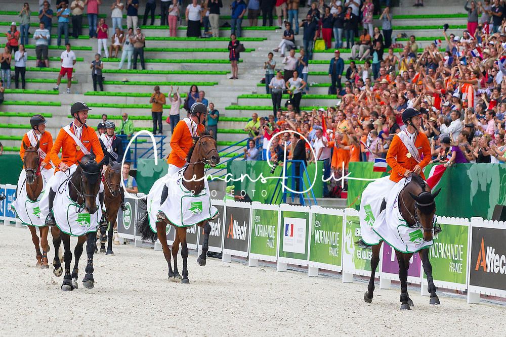 Team Nederland - World Champions, - Second Round Team Competition - Alltech FEI World Equestrian Games&trade; 2014 - Normandy, France.<br /> &copy; Hippo Foto Team - Leanjo De Koster<br /> 25/06/14