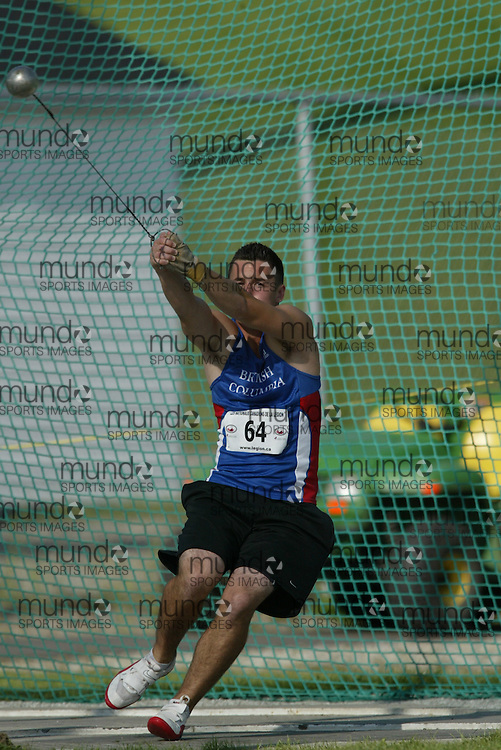 (Sherbrooke, Quebec -- 8 Aug 2009)  Spencer Prince of British Columbia competes in boys under-17 (youth) hammer throw final at the 2009 Royal Canadian Legion National Youth track and field championships. Photograph copyright Sean Burges / Mundo Sport Images  2009.