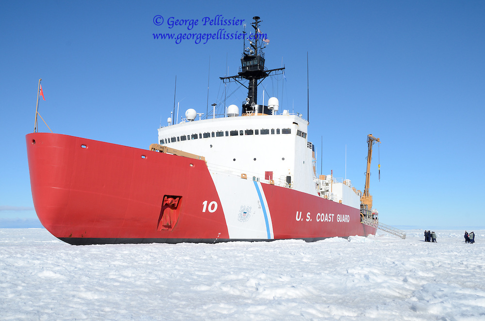 The Coast Guard Cutter Polar Star hove to in the ice off of Marble Point, Antarctica.
